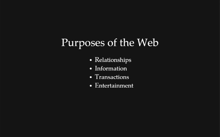 Purposes of the web